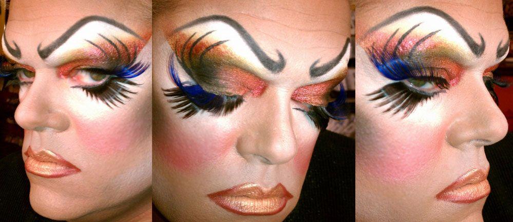drag queen makeup huge long false eyelashes   Professional ...