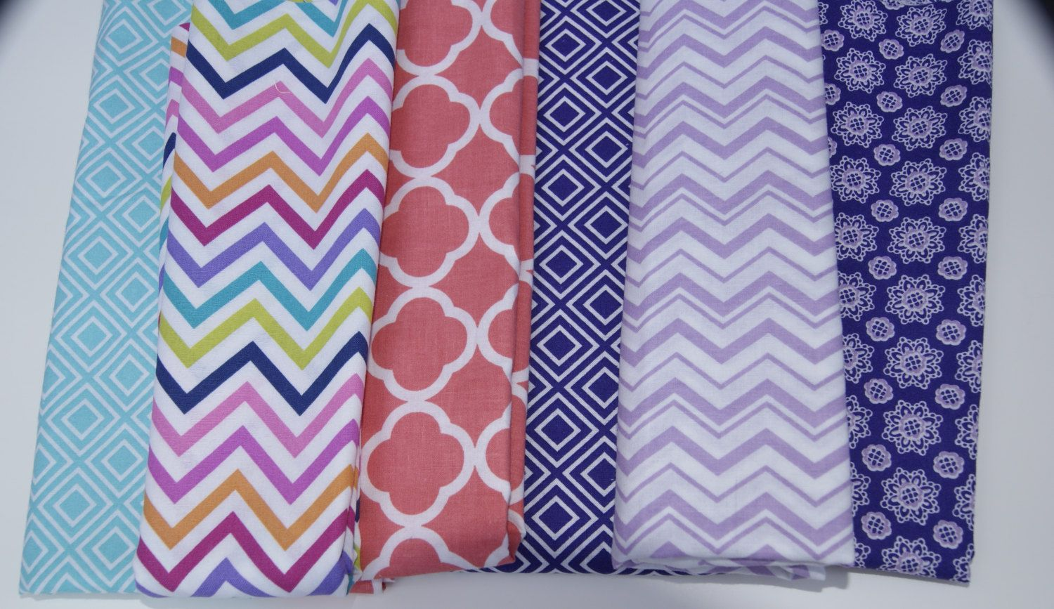 Baby Burp Cloths - Set of 2 Quilted Boutique Baby Burp Rags  - You Choose - Turquoise, Purple, Peach Quatrefoil, MultiColor Chevron by PurpleLadybugGifts on Etsy