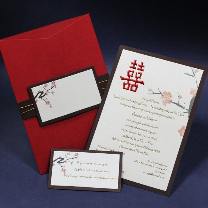 chinese wedding invite double happiness card sleeve