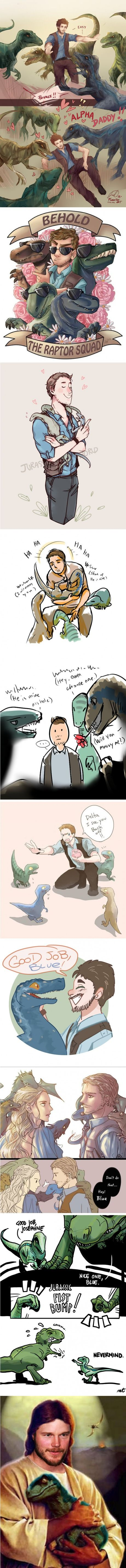 These are the cutest fanart of the Raptor Crew you will find on the internet #dinosaurpics