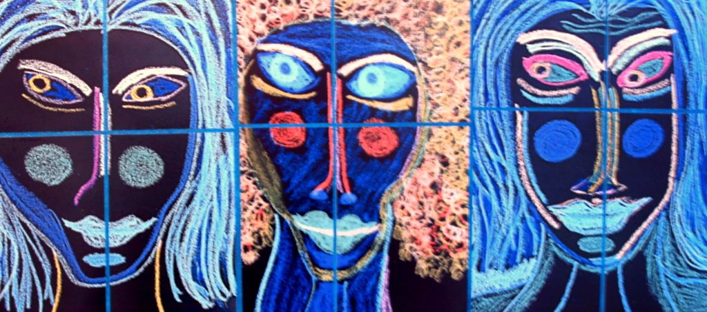 3 Twisted Sisters. Inverted Color Spectrum of original oil pastel drawings, assembled collage 20 x 24 inches on canvas