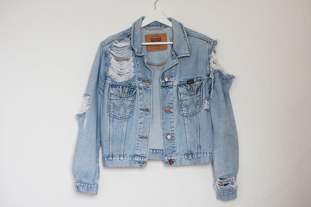 14d84e9c4a Ripped denim jacket     Vintage destroyed unisex oversized jeans ...