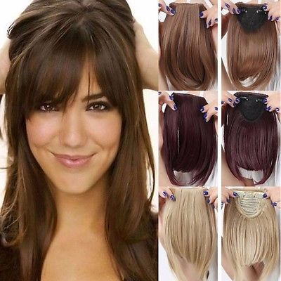 Straight Front Bangs Fringe Piece Clip In Hair Extensions Remy Style Real Ncw Jumbo Braiding Hair Clip In Hair Extensions Straight Hair Extensions