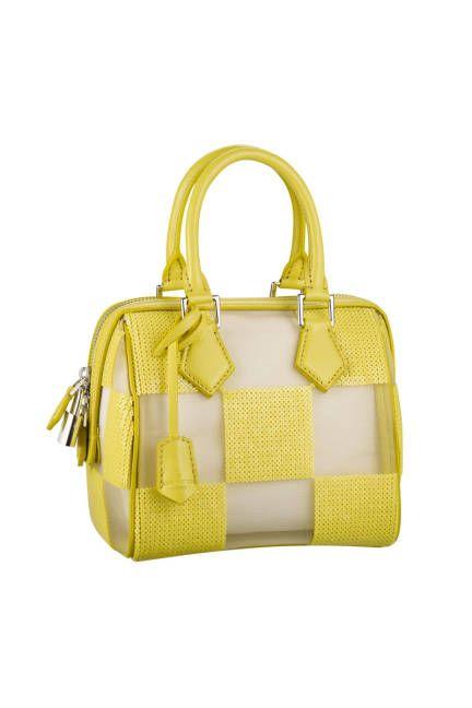 5e02c1c84d Louis Vuitton  Yellow Damier Sequin Speedy Cube Yellow sequin and  translucent damier-print checker handbag.