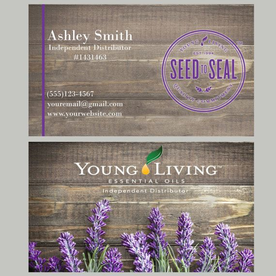 Young Living Business Card Template: Lavender Young Living Business Card Printable Distributor