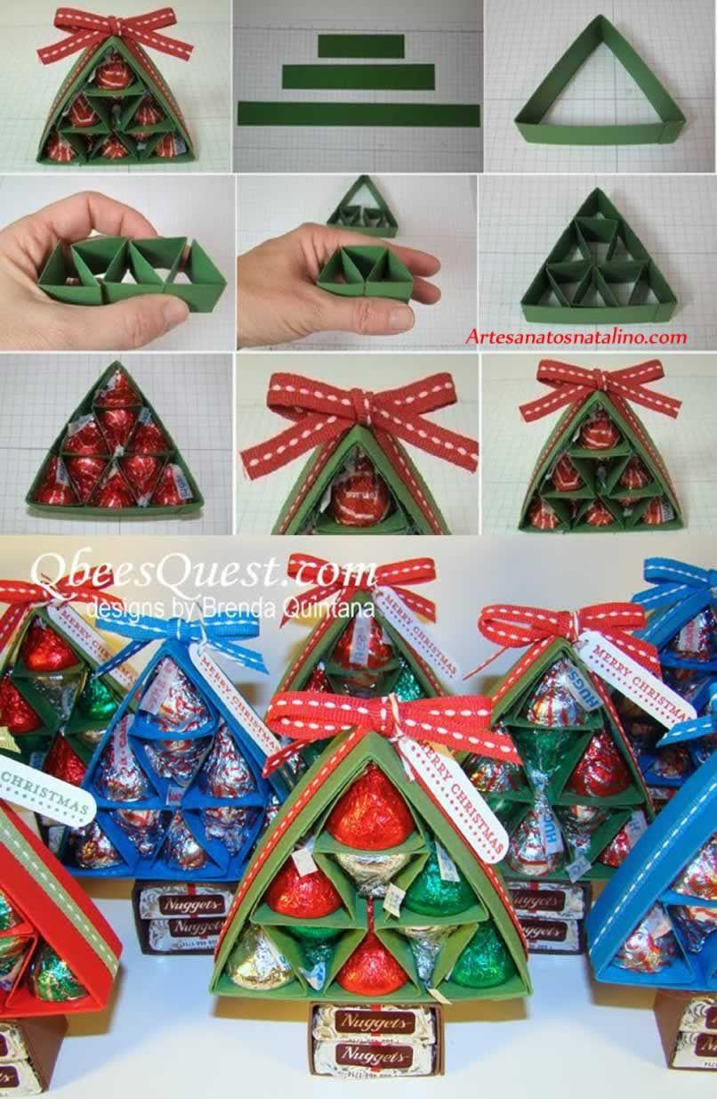 Lembrancinha de natal rvore de papel com bombom for Manualidades souvenirs navidenos