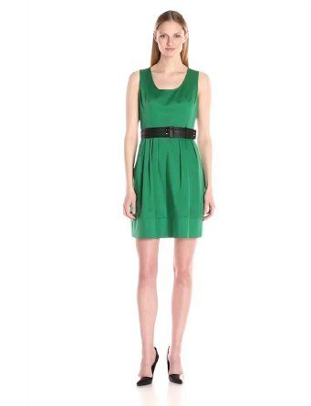 cfc649036fc1 Amazon.com  Calvin Klein Women s Fit-and-Flare Belted Dress  Clothing