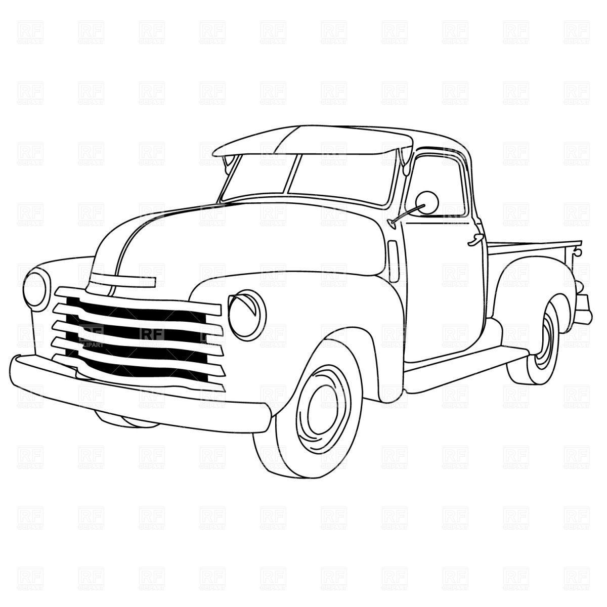Old Trucks Coloring American Pick Up Truck Sketch Page