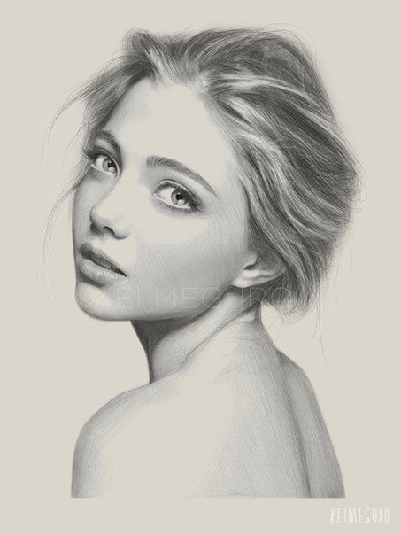 Meguro tokyo born artist charcoal pencil photoshop contemporary figurative realism art female head shoulder woman face portrait pencil drawing
