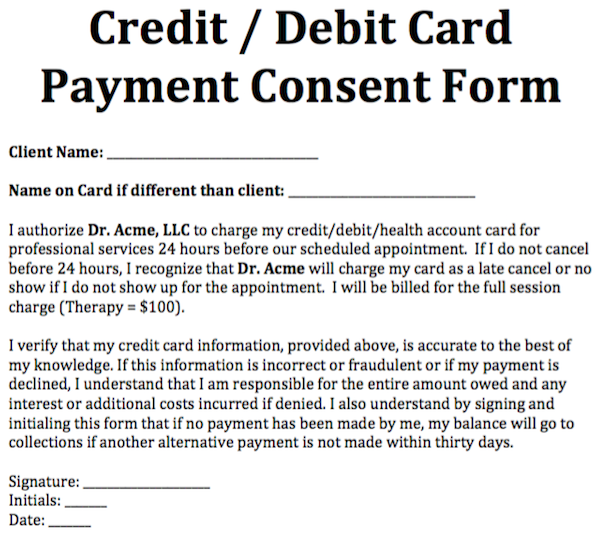 Credit/ Debit Card Payment Consent Form | Notes template ...