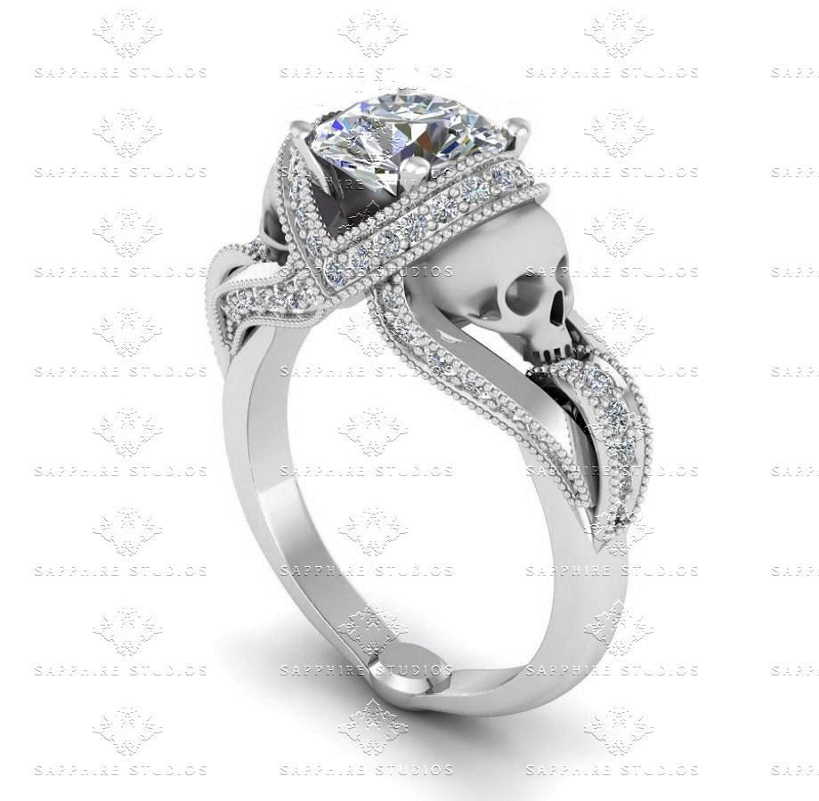 Aphroditeu ct all white diamond skull sterling silver engagement