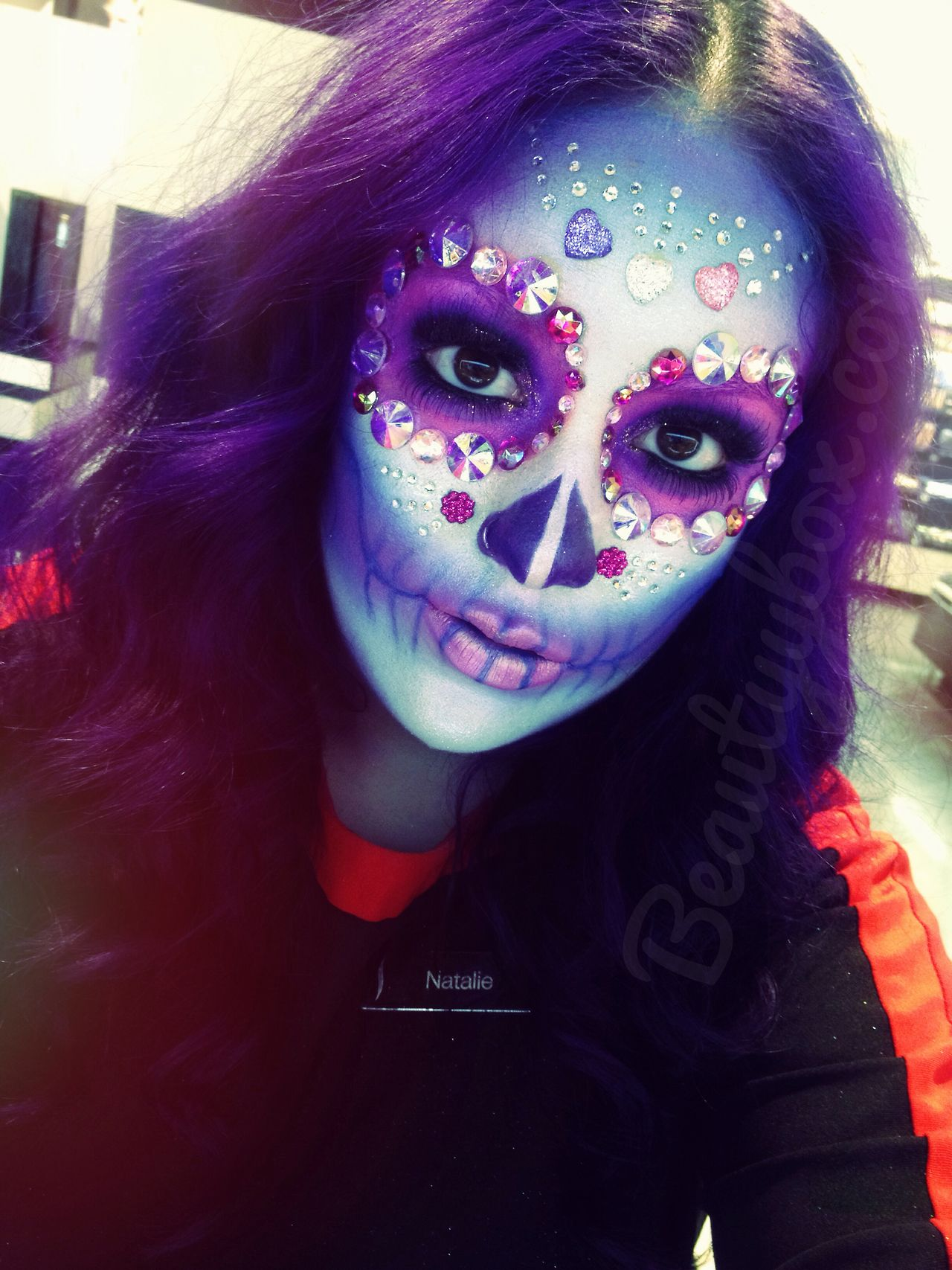 Sugar Purple skull makeup rare photo