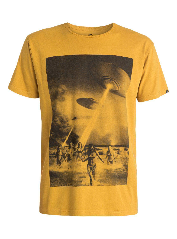 Quiksilver plain black t shirt - Quiksilver Organic Beach Attack T Shirt Golden Spice Yld0