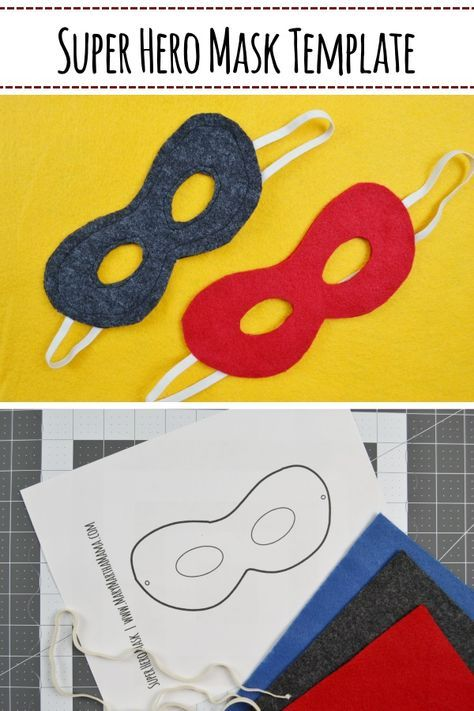 Free printable super hero mask template- DIY super hero mask tutorial- make your own super her mask with this tutorial that features no-sew and sewing options. #sewingprojects #freepattern #superheromask #superherocrafts