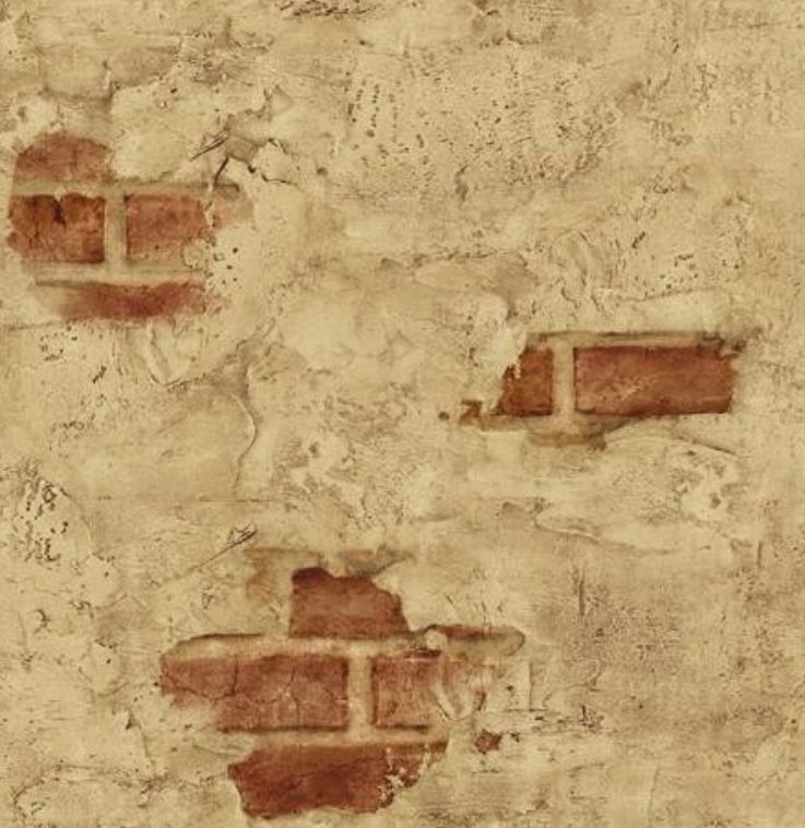 Faux Brick And Plaster Wall: Wallpaper Designer Tuscan Tan Stucco Wall With Red Exposed