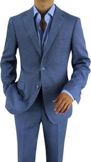 Blue Suit Two Piece Duo Button Suiting in Light Blue Jacket, Pants Ensemble Stylish into Handsome Fashionable Trendy