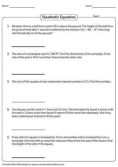 Word Problems Involving Quadratic Equations Quadratic Equation