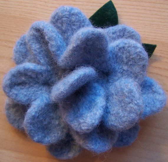 Pastel Powder Blue Crocheted Felted Flower Brooche by bettesbags #DCetsy #MADEINDC #DCmade #WashingtonDC