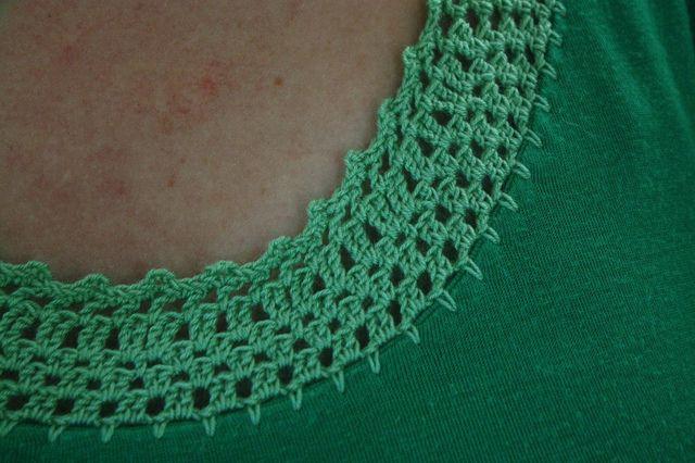 Crochet Neckline; DIY Shirt Refashion
