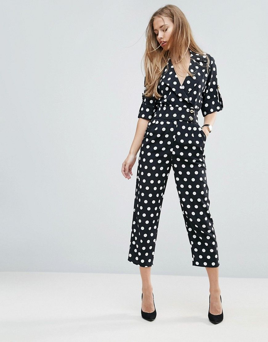 aa5896a2deaa ASOS Soft Tux Jumpsuit in Polka Dot - Black