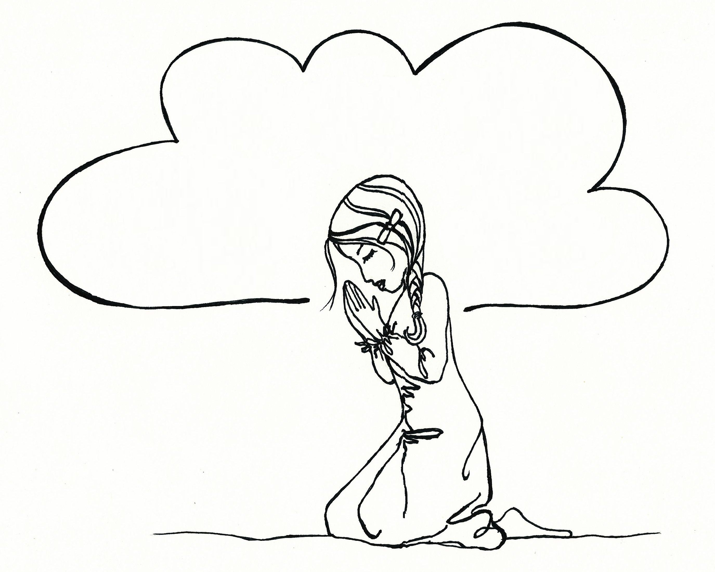 prayer coloring page. print. draw in the prayer bubbles