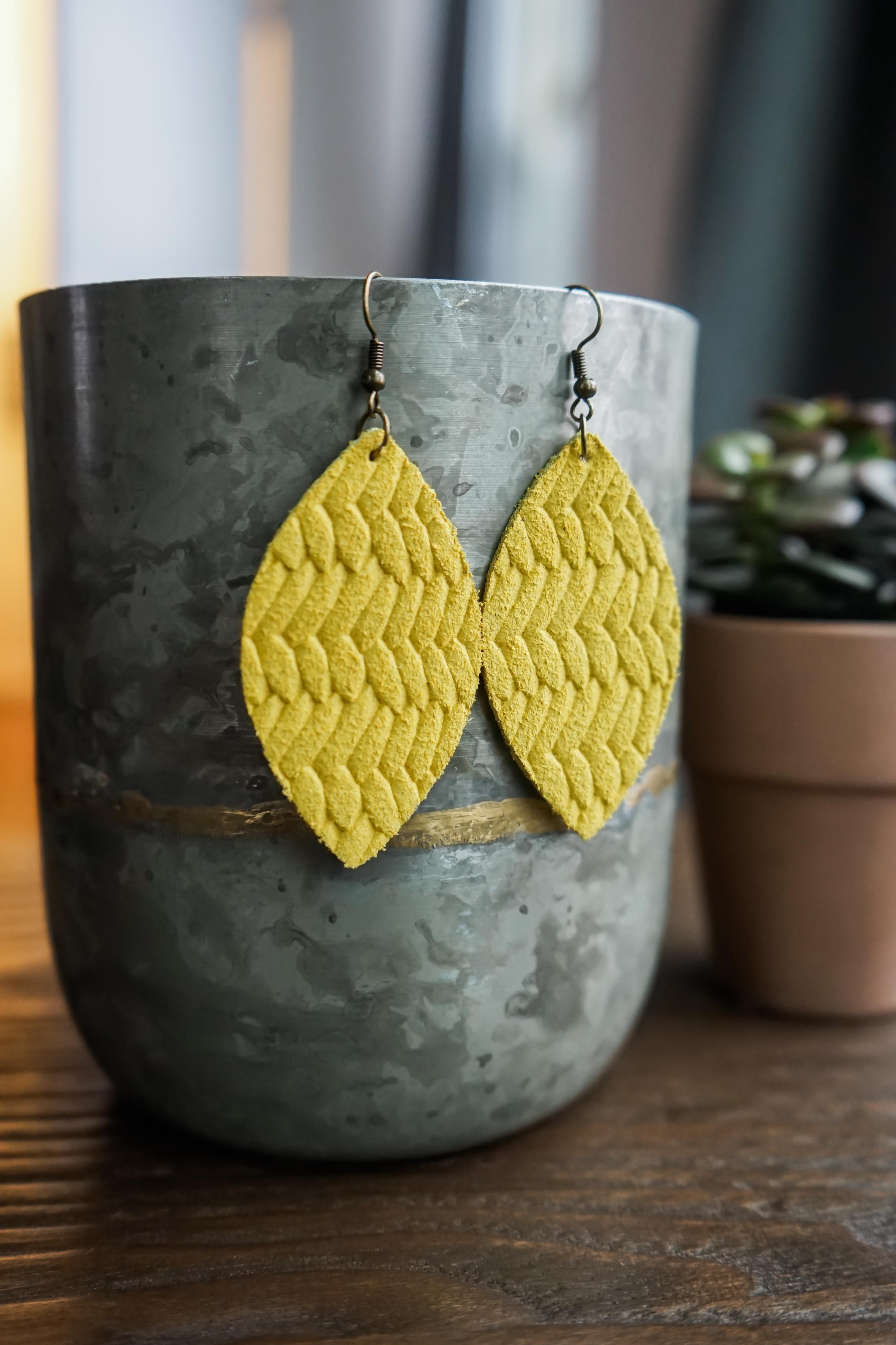 Genuine Leather Earrings Fishtail Braid Mustard Yellow