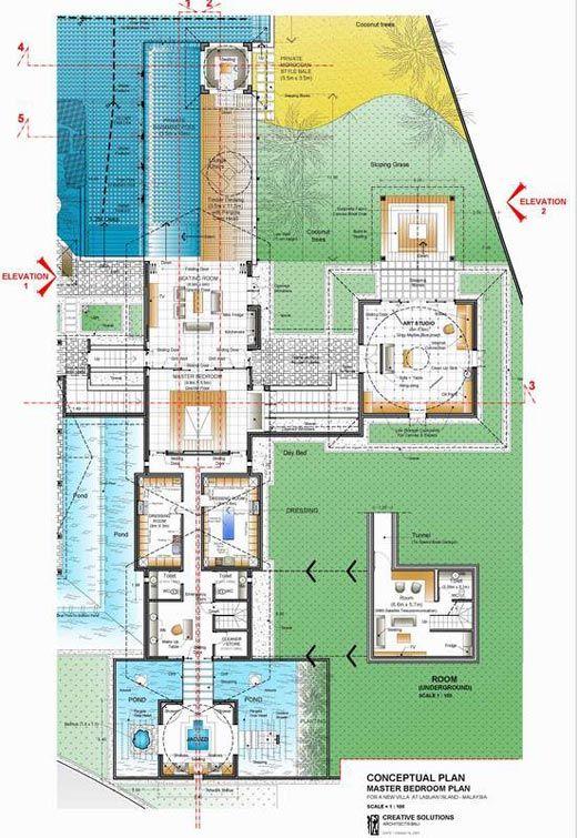 Luxury Villa On Malaysian Island Bali Architecture Villa Plan Master Bedroom Plans