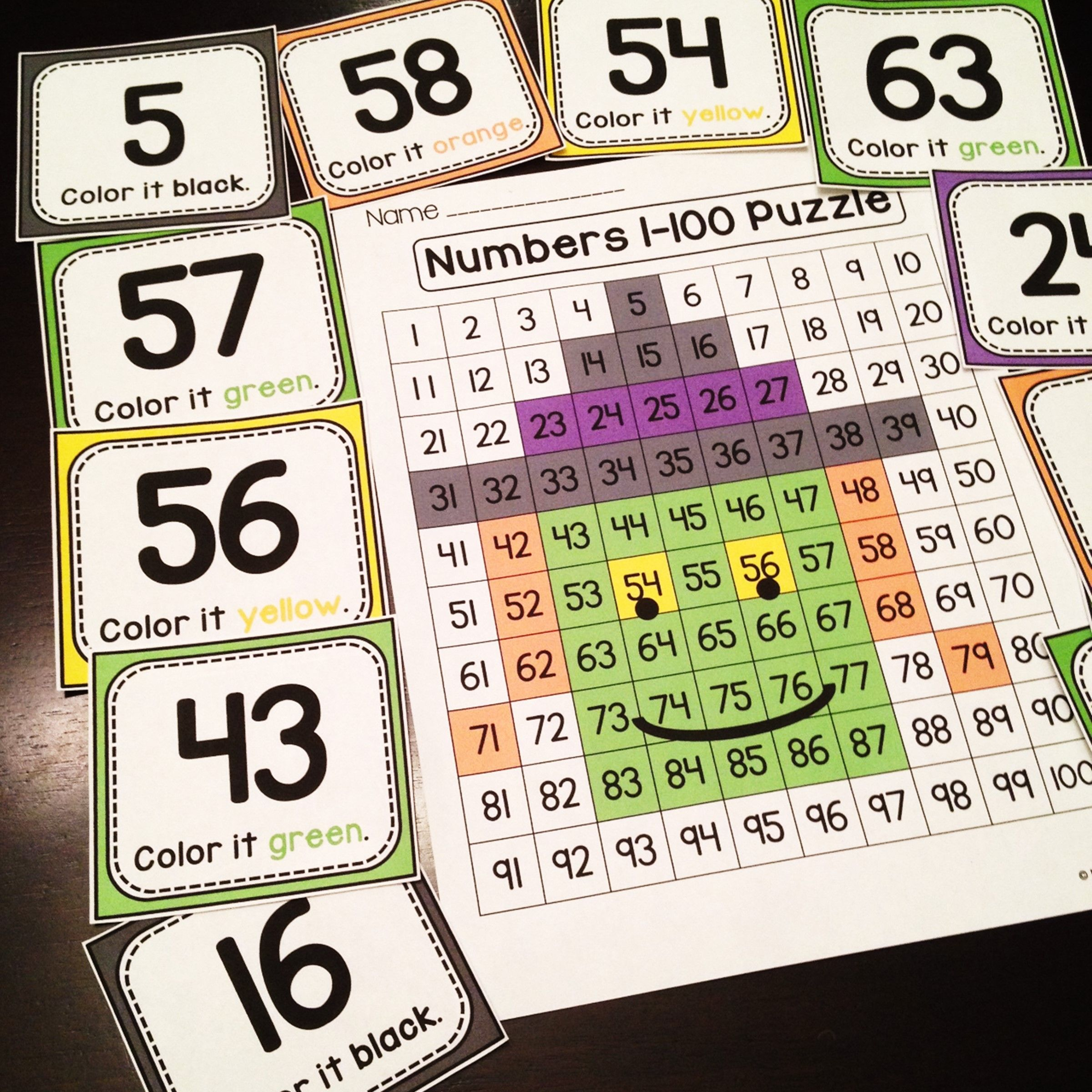 Halloween Math Center Number Sense 100 Chart Puzzle