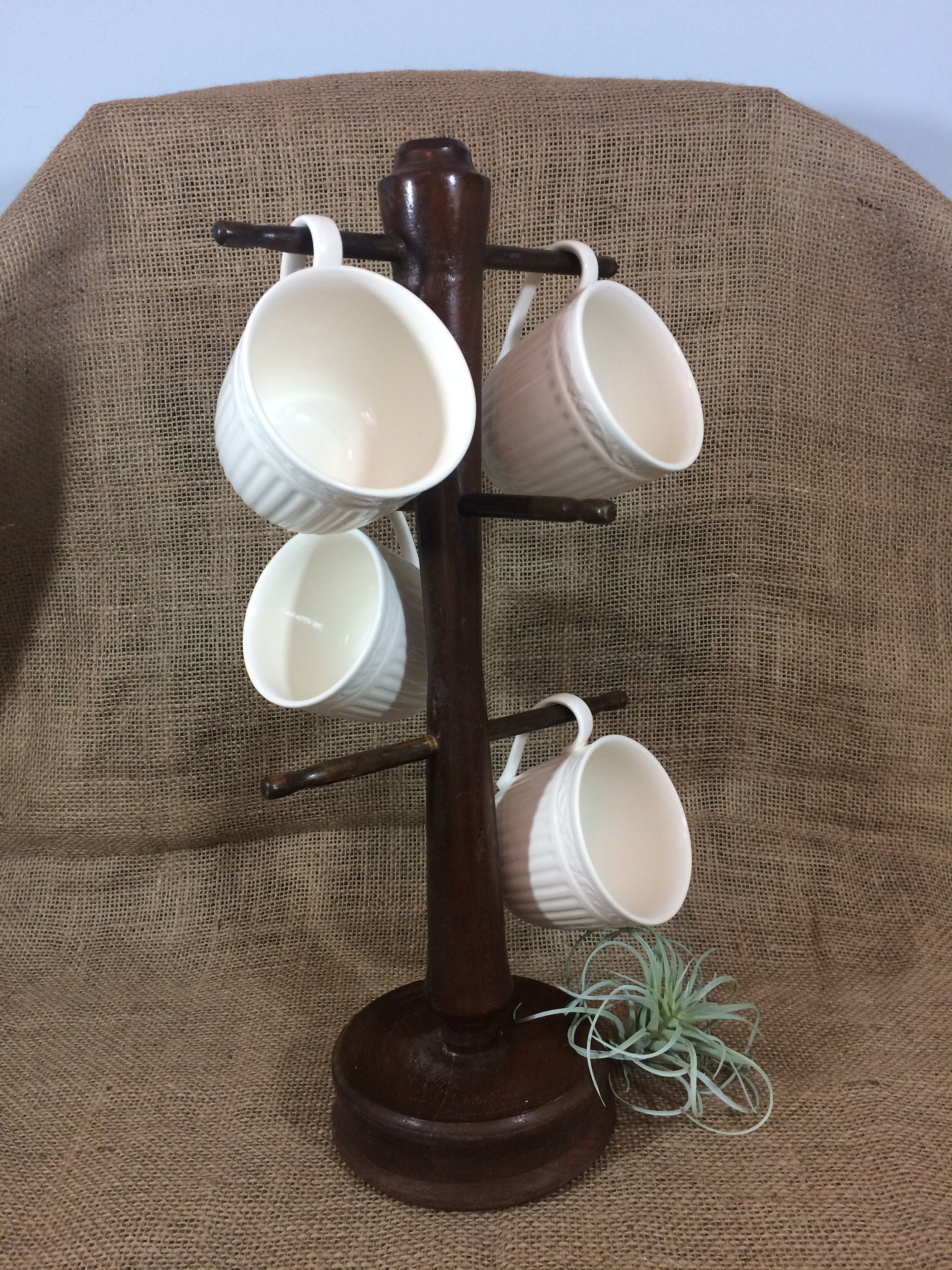 Vintage Mug Rack 1970's Wood Cup Rack/Holder