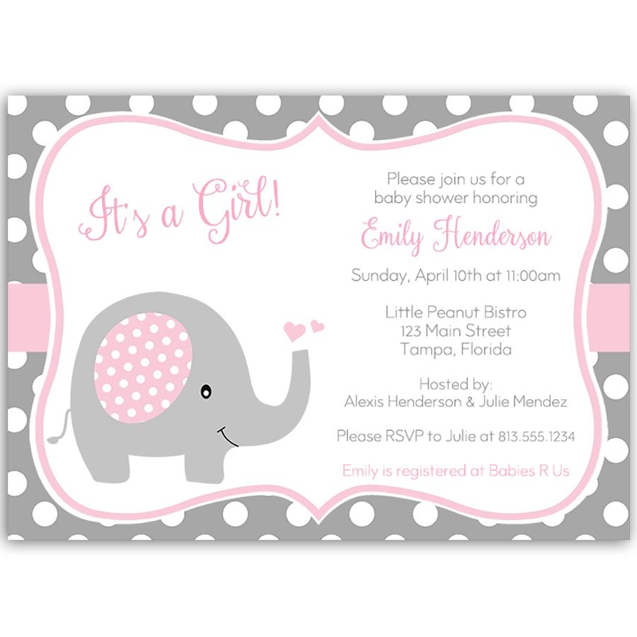Polka Dot Elephant Pink Baby Shower Invitation | Shower ...