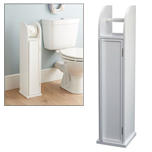 Free Standing Wooden White Toilet Paper Roll Holder Bathroom Storage Cabinet