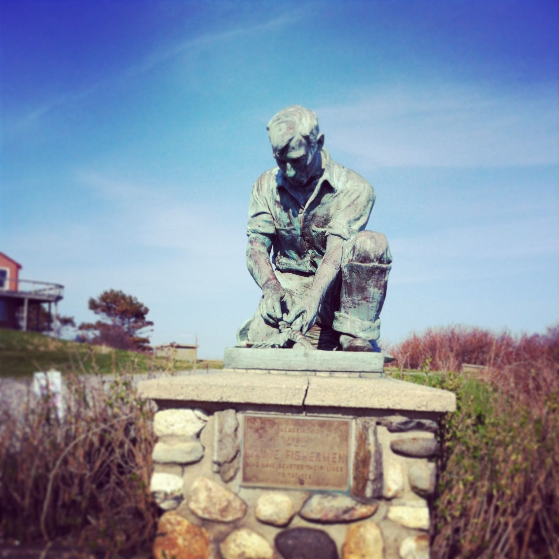 Fisherman statue near brunswick maine brunswick maine