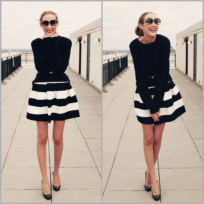 4 Hottest Ways to wear Black | Skirts, Striped skirts and Classic