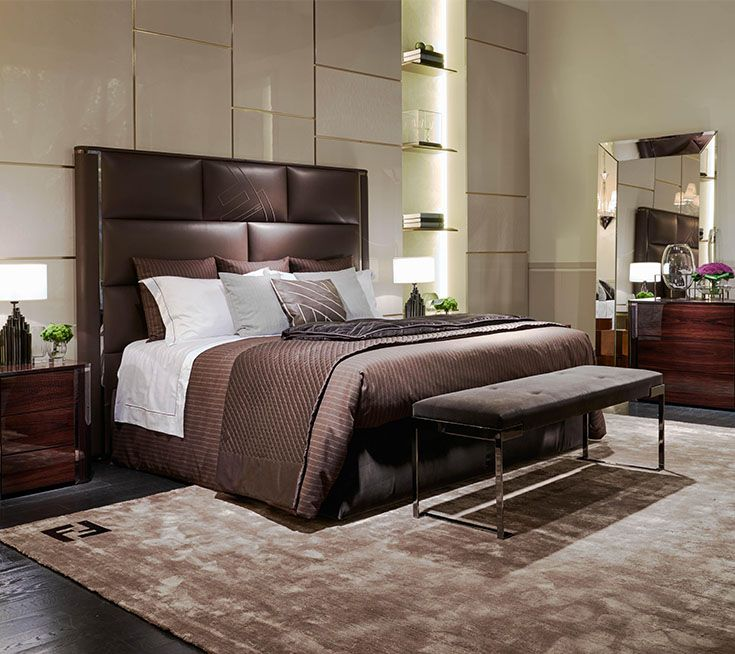 Fendi Casa - Montgomery bed, Aura bench and Mercury bedside table ...