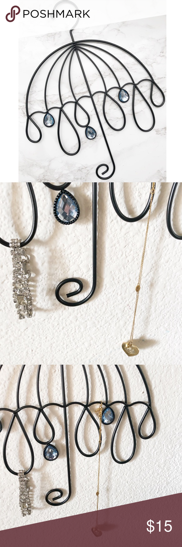 Jewelry Organizer Wall Decor Hanging Jewelry Organizer for bracelets and necklaces. Display your jewelry - no more tangles!  Cute umbrella shaped iron organizer with blue jewels.  Holds up to 10 pieces of jewelry   New! Storage & Organization Jewelry Organizers #cuteumbrellas Jewelry Organizer Wall Decor Hanging Jewelry Organizer for bracelets and necklaces. Display your jewelry - no more tangles!  Cute umbrella shaped iron organizer with blue jewels.  Holds up to 10 pieces of jewelry   New! Sto #cuteumbrellas