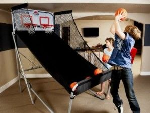 This new and improved indoor Lifetime Double Shot arcade basketball game turns your recreational room into an arcade with optical scoring sensors, an adjustable-height backboard, side-by-side shooting competition, and high-quality construction for long-lasting durability. $239.99