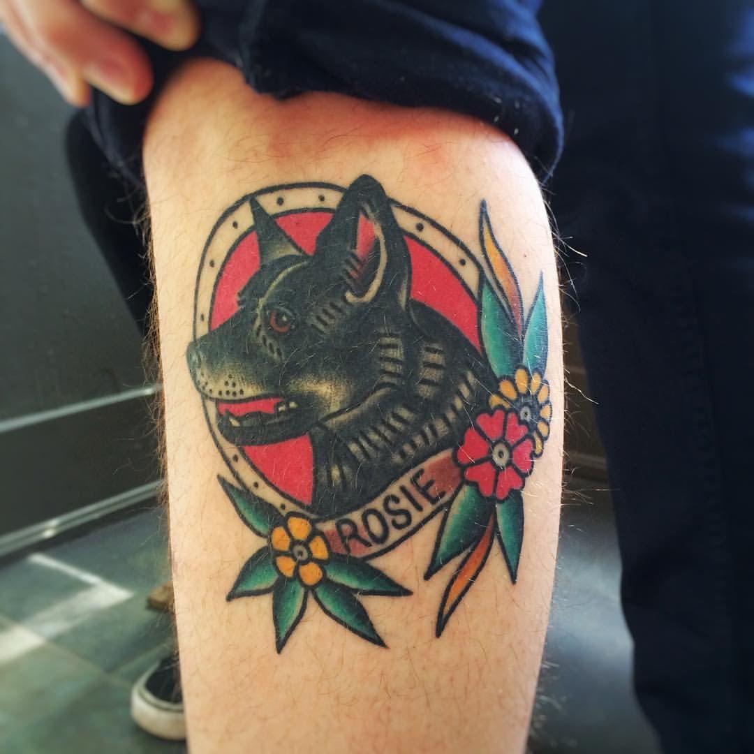 Traditional Style Dog Portrait Tattoo Dog Portrait Tattoo Dog Tattoos Traditional Tattoo Dog