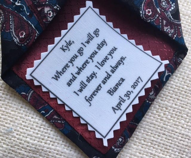 """Ink Printed Groom's SKINNY TIE PATCH - Choose Message & Font - 2"""" x 2"""" Sew on or Iron On - Wedding Tie Patch, Bridegroom Gifts, Groom Gift by VictoriaLynnBoutique on Etsy"""