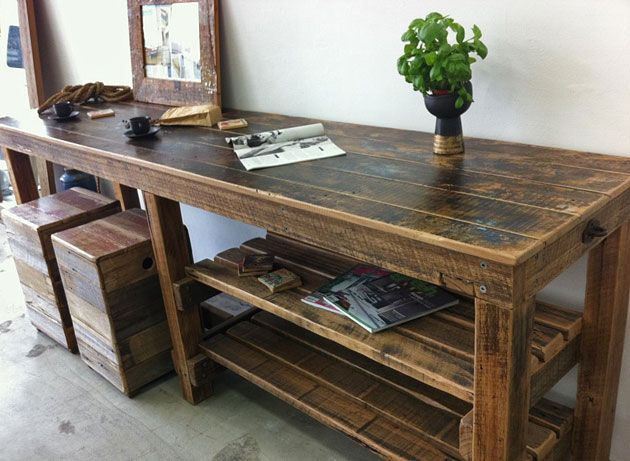 Beautifully finished furniture from salvaged materials