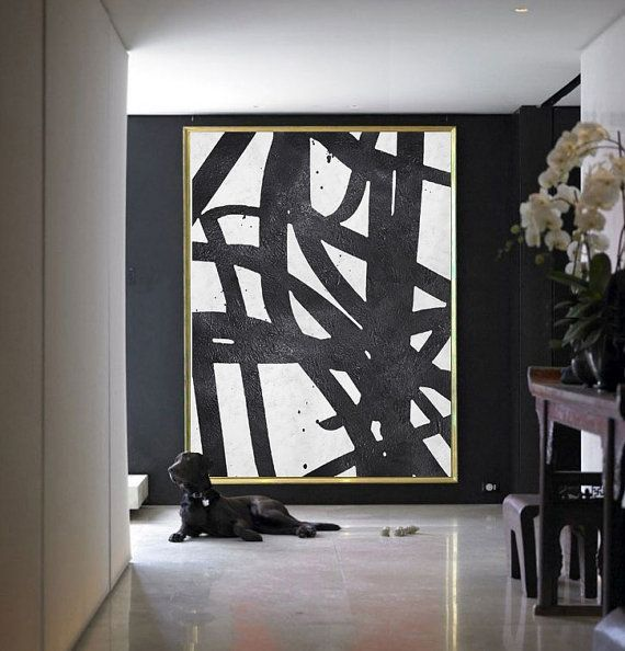 Large abstract painting on canvas minimalist canvas art handmade black white acrylic textured painting