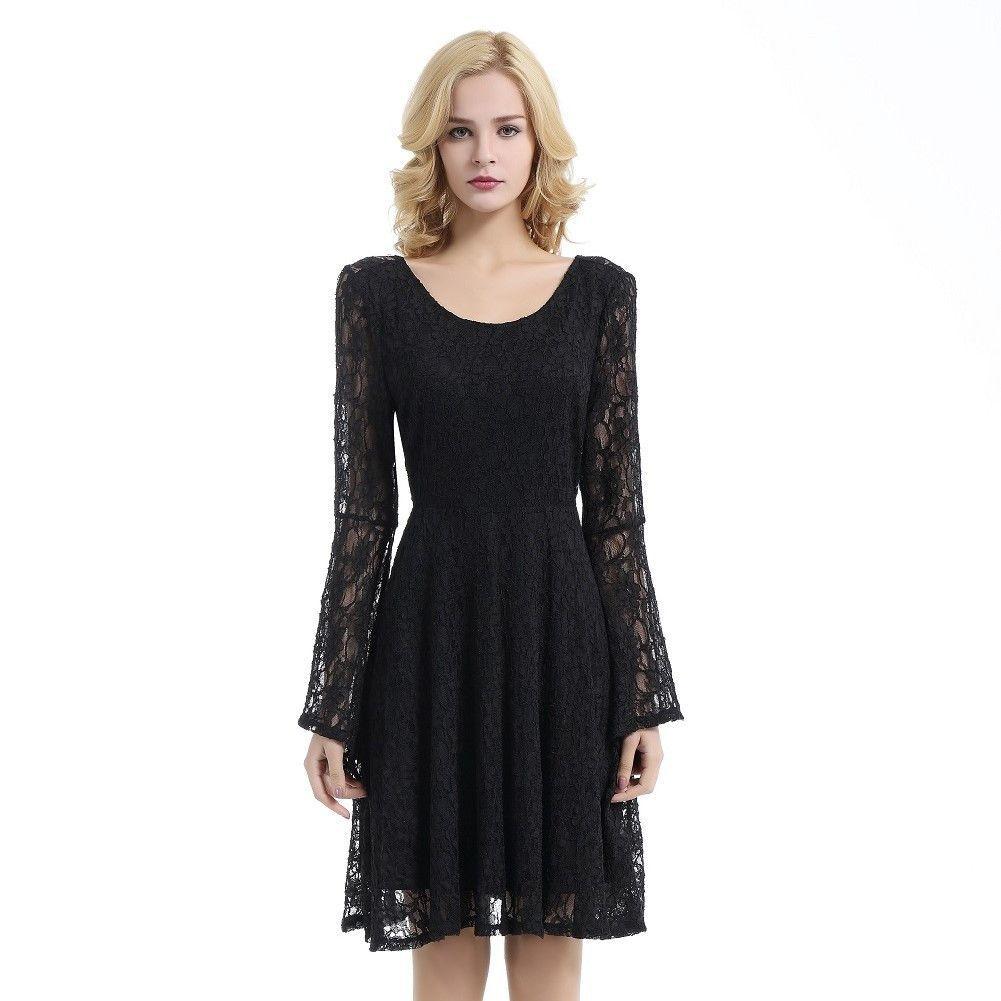 Urban charm womenus long bellsleeve open back lace short dress