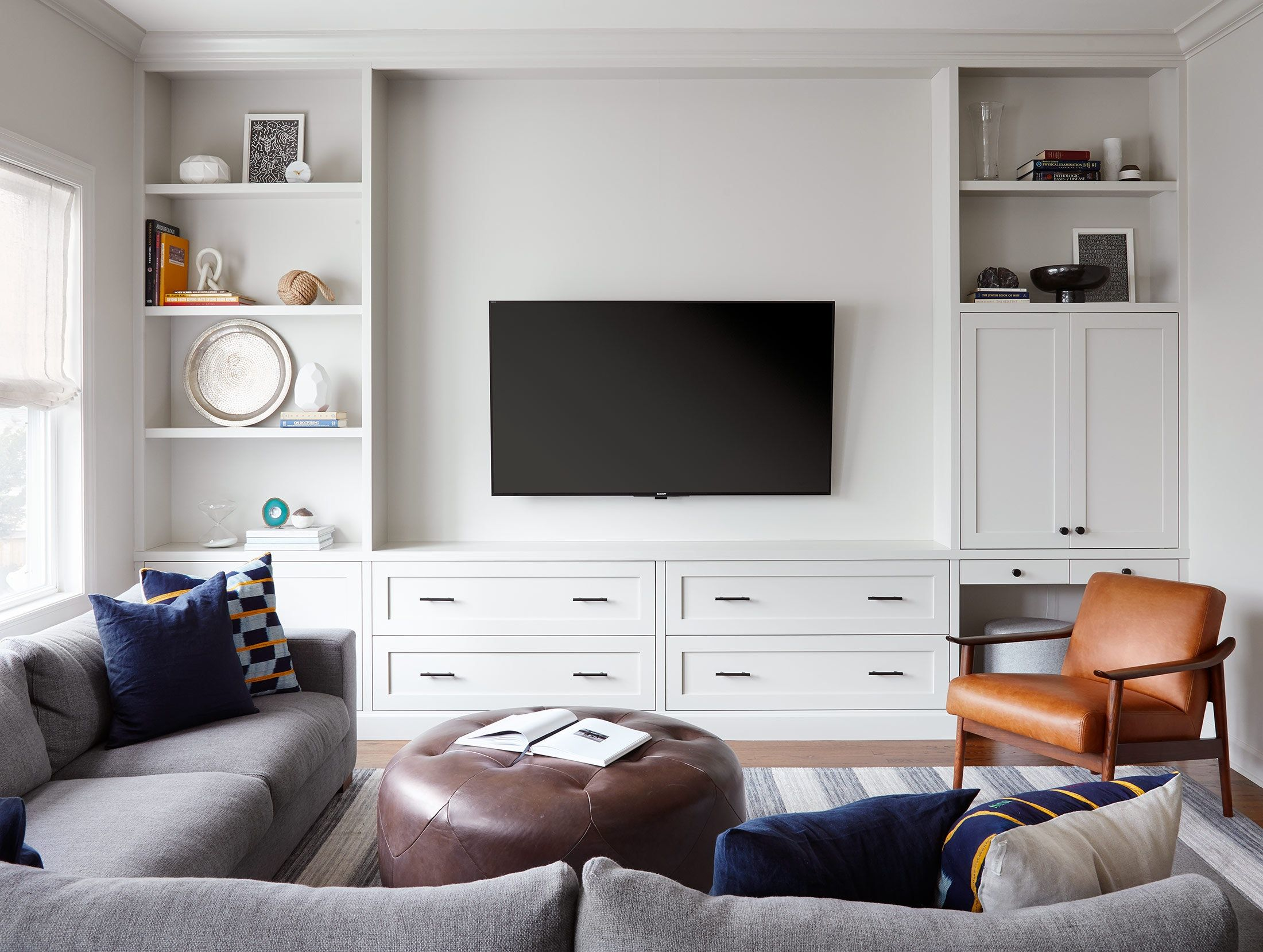 Modern Media Room Built In Bookcases By 2to5 Design Lookbook