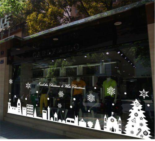 Large Christmas Shopwindow Stickers Wall Window Decoration Vinyl - Window stickers amazon uk
