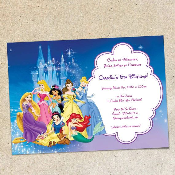 Disney Princesses Party Invitation Template By PrintYOParty