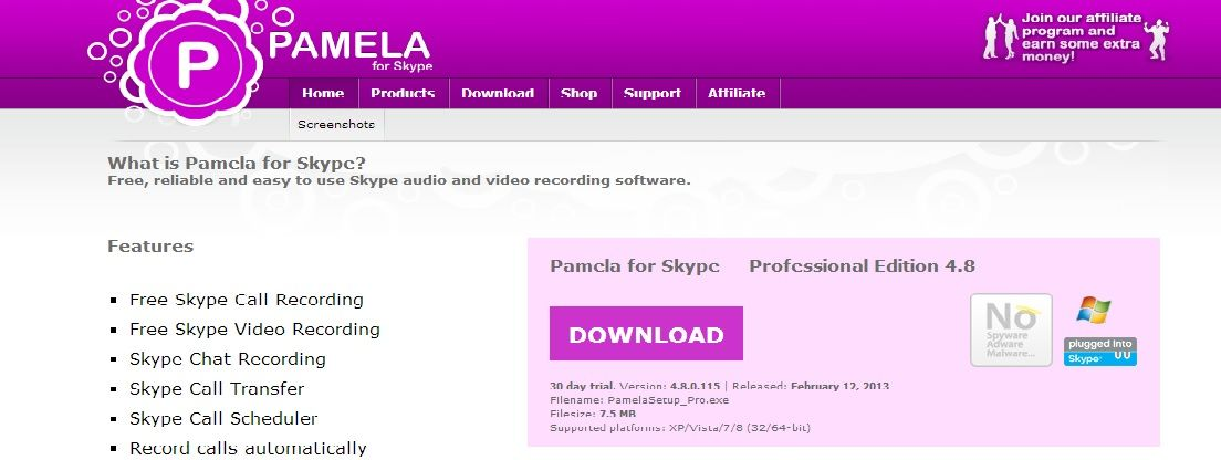 Pamela for Skype | Skype audio and video recording software
