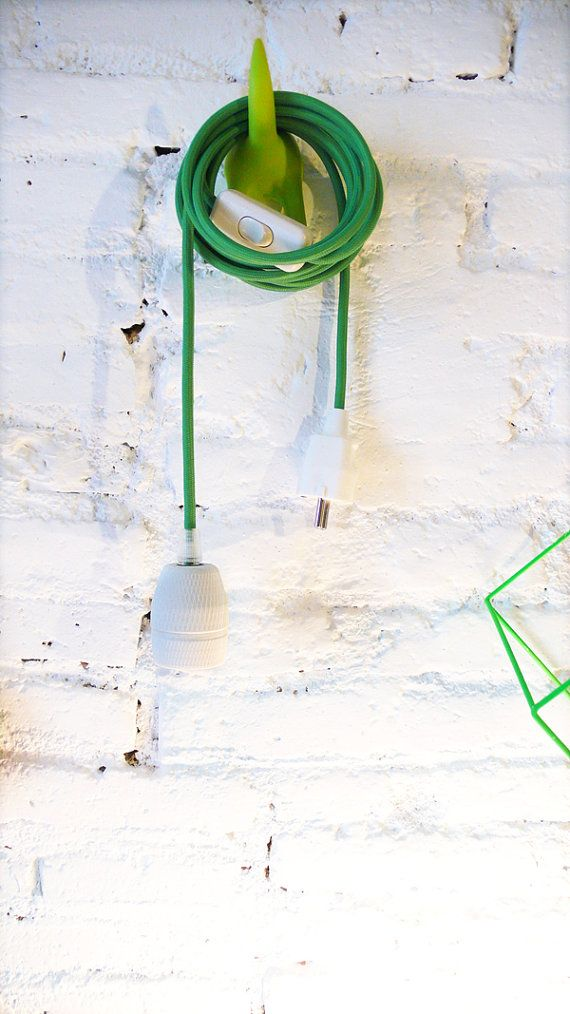 Textile cable lamp with switch and plug green por lacasadecoto, €39.00