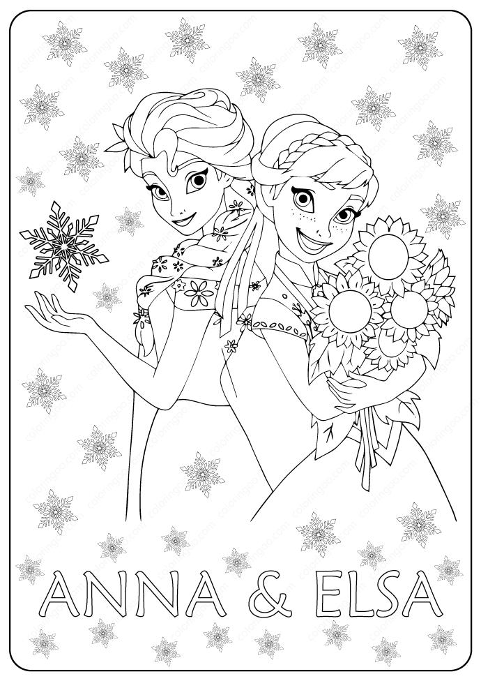 Pritable Frozen 2 Anna & Elsa Coloring Page Elsa