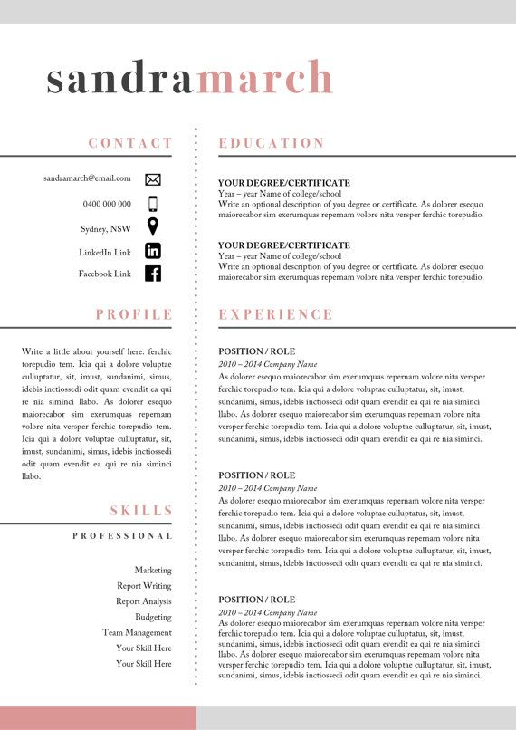Professional resume template 2 Page Resume 1 by StudioMTemplates - professional report template word 2010
