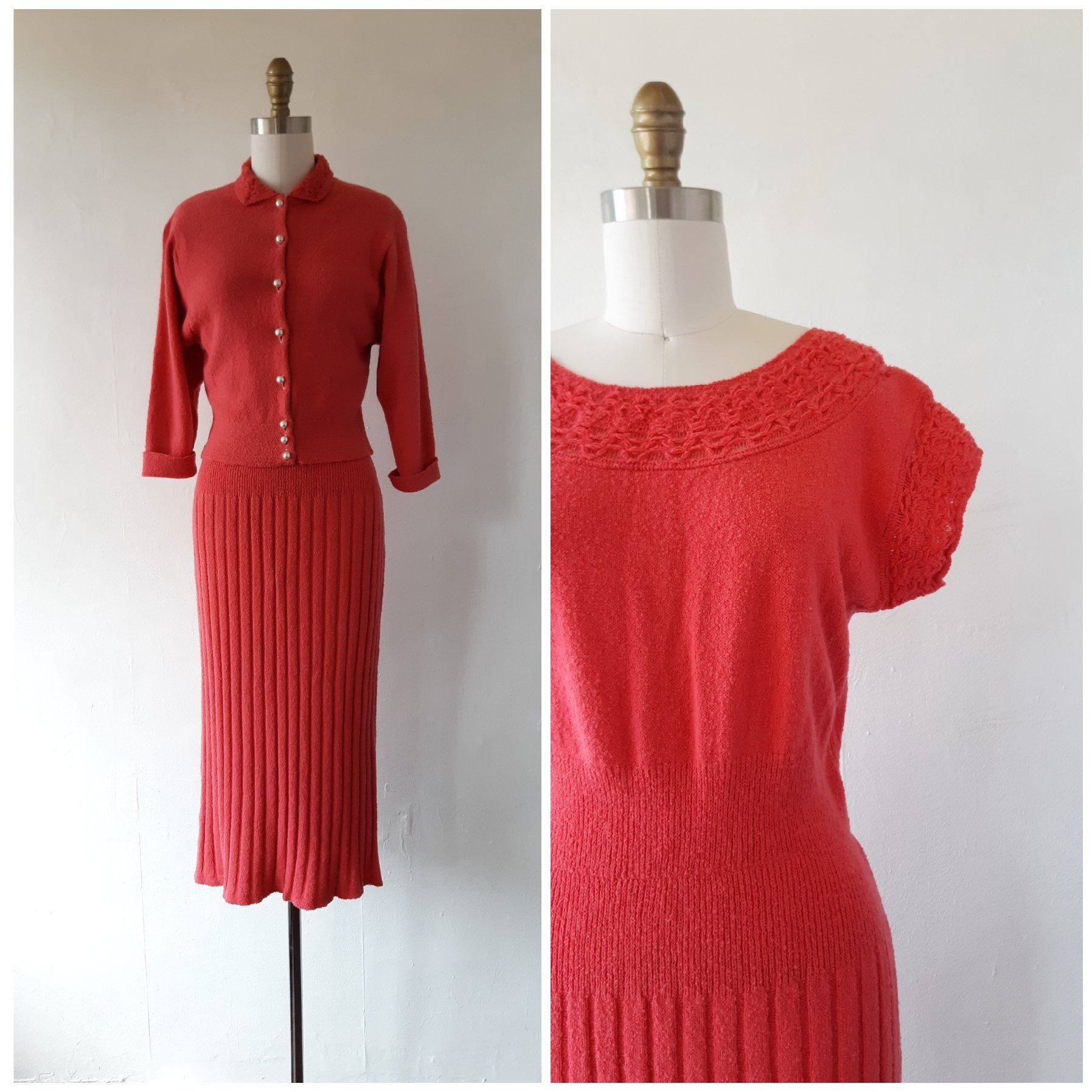 1940s Knit Dress Vintage 1940s Salmon Pink Knit Dress And Sweater Set Size Small To Medium Vintage Knitw Pink Knit Dress Vintage Knitwear Vintage Dresses