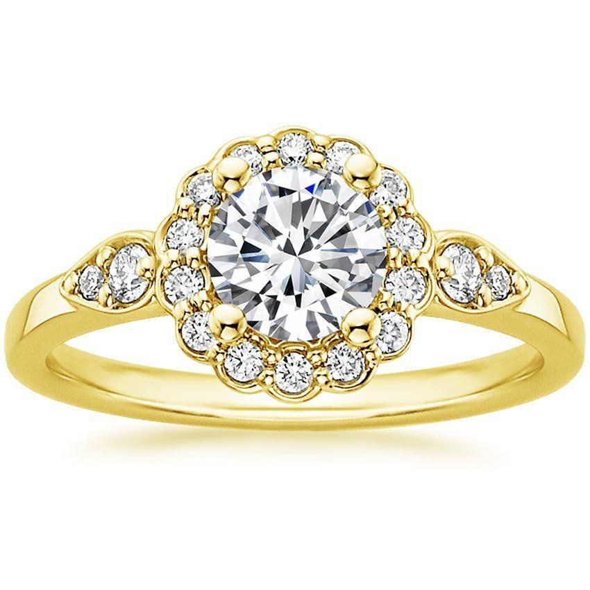 Lab Created Camillia Diamond Engagement Ring 18k Yellow Gold